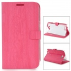 Wood Grain Style Protective PU Leather Case for Samsung Galaxy Note 2 N7100 - Pink
