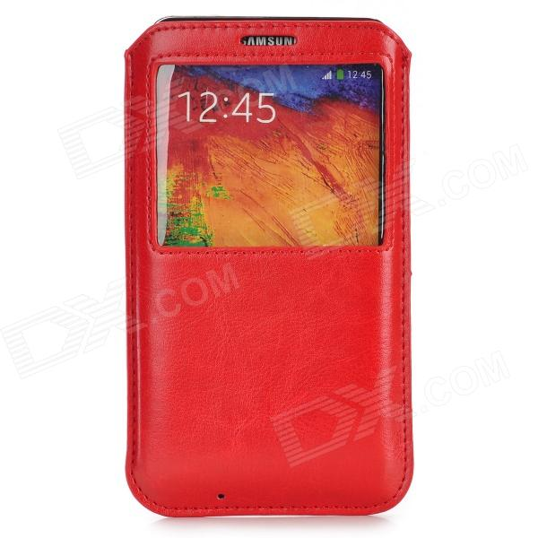 Protective PU Case w/ Window for Samsung Galaxy Note 3 / N9000 - Red