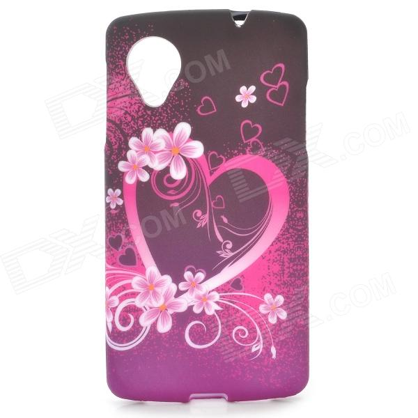 Love Heart Style Protective TPU Back Case for LG Nexus 5 - Black + Purple protective tpu back case for lg nexus 5 black