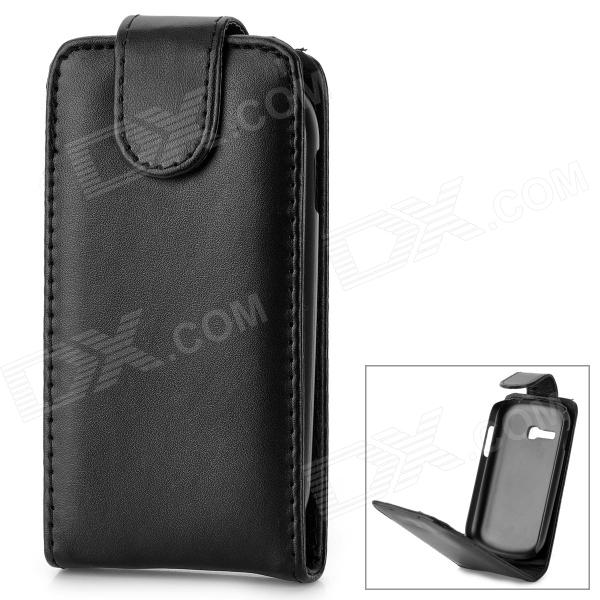 Protective Top Flip Open PU Leather Case for Samsung Galaxy Fame Lite S6790 - Black protective pu leather top flip open case for samsung i9220 black