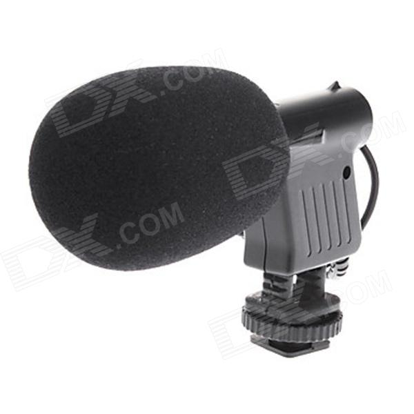 BOYA BY-VM01 Stereo Video Microphone for SLR cameras - Black (3.5mm Plug / 20cm-Cable / 1 x AAA) boya by mm1 compact on camera video microphone youtube vlogging recording mic for iphone smartphone dji osmo canon dslr