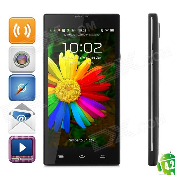 HD5000 Quad-core Android 4.2 WCDMA Bar Phone w/ 5.0 IPS, Wi-Fi, GPS, RAM 1GB and ROM 8GB - Black mpie t6s quad core android 4 4 2 wcdma bar phone w 5 5 hd 2gb ram 4gb rom wi fi gps black