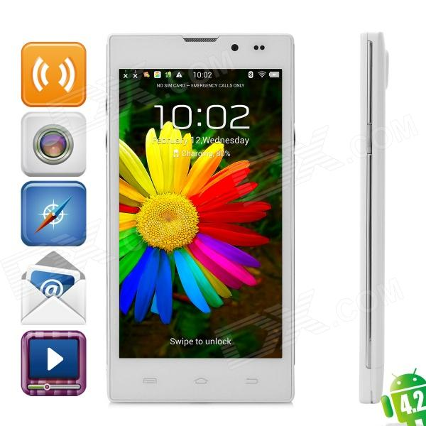 HD5000 Quad-core Android 4.2 WCDMA Bar Phone w/ 5.0 IPS, Wi-Fi, GPS, RAM 1GB and ROM 8GB - White m pai 809t mtk6582 quad core android 4 3 wcdma bar phone w 5 0 hd 4gb rom gps black