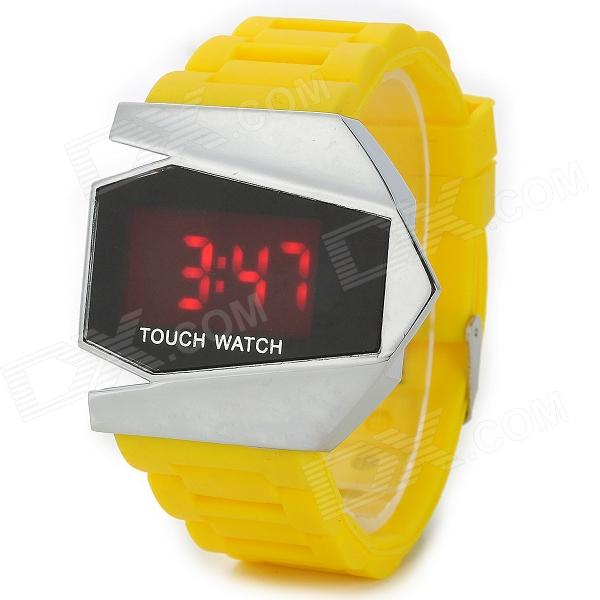 Creative Aircraft Style Silicone Band Digital LED Touch Watch - Yellow + Multicolored (1 x CR2032)