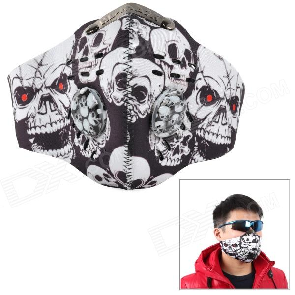 SAHOO 46868 Outdoor Cycling Dustproof Skull Pattern Lycra Face Mask - Black + White skull pattern outdoor motorcycle face mask shield guard white black free size