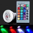 GU10 3W 220LM RGB IR Remote Control Dimming LED Lamp - White + Silver (85~265V)