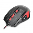 FESNU x8 600/1200/1800/2400dpi Wired Optical Gaming Mouse - Black Grey + Red