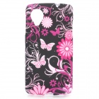 Butterfly + Flower Pattern Protective TPU Back Case for LG Nexus 5 - Black + Pink + Multicolored