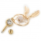 UBE UTY 7045 Fashion Zinc Alloy + Rhinestones Belly Ring - Golden + White