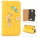 PUDINI WB-0110S4 Dragonfly Style PU Leather + Rhinestone Case for Samsung Galaxy S4 i9500 - Yellow