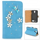 PUDINI WB-0110S4 Dragonfly Style PU Leather + Rhinestone Case for Samsung Galaxy S4 i9500 - Blue