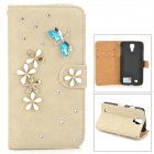 PUDINI WB-0110S4 Dragonfly Style PU Leather + Rhinestone Case for Samsung Galaxy S4 i9500 - Grey