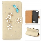PUDINI WB-14015G Dragonfly Style Protective PU Leather + Rhinestone Case for IPHONE 5 - Grey