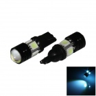 T10 / W5W 4W 300lm 4-5050 + 1-COB LED Ice Blue Car Head Light / Clearance / Side Lamp - (12V/ 2Pcs)