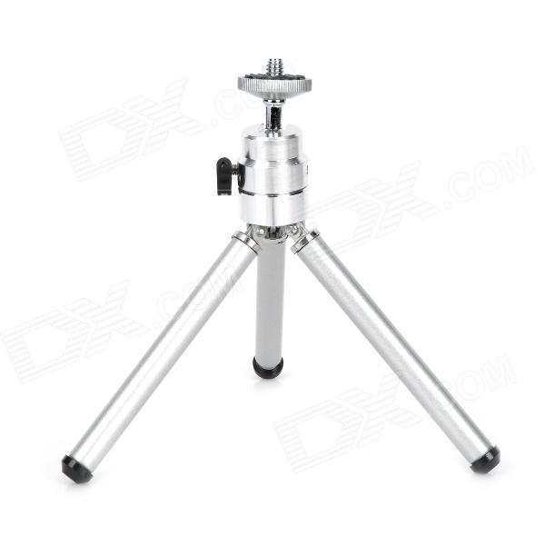 Mini Portable Dual Section Leg Dual Layer Rod Desktop Tripod - Silver