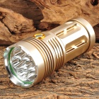 7-LED 1600lm 3-Mode White Flashlight - Golden (1~4 x 18650)