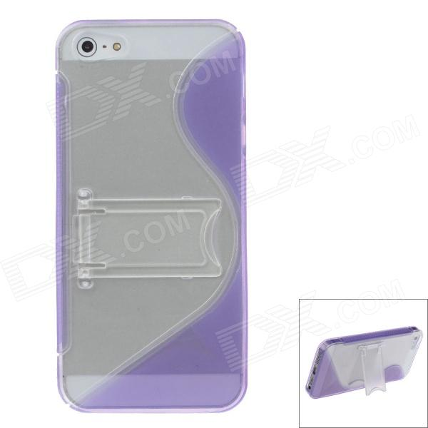 Fashion Plastic Protective Case for IPHONE 5 / 5S - Purple + Transparent s what protective tpu back case w anti dust plug for iphone 5 5s transparent purple