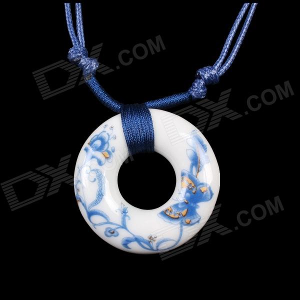 G.ERIMON TCXL0013 Classic Butterfly Flower Pattern Ceramic Pendant Sweat Necklace - White + Blue ночная рубашка the flower of love