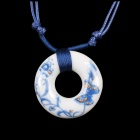 G.ERIMON TCXL0013 Classic Butterfly Flower Pattern Ceramic Pendant Sweat Necklace - White + Blue