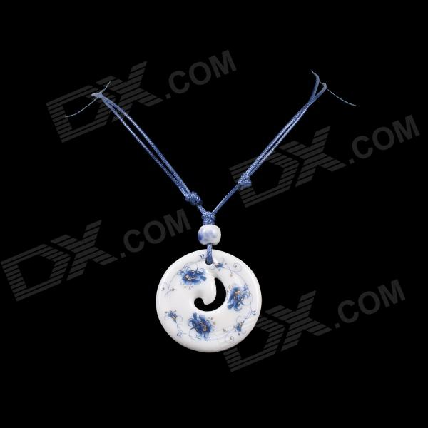 G.ERIMON TCXL004 Chic Reincarnation Circular Pendant Necklace - White + Blue