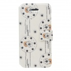 Fashion Flower Pattern PU Leather Protective Case for IPHONE 5 / 5S - White + Black