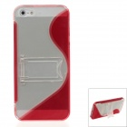 Fashion Plastic Protective Case for IPHONE 5 / 5S - Red + Transparent