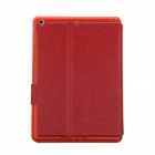 Fashion Color Flip-Open PU del soporte del cuero w / Windows para IPAD Aire / IPAD 5 - Rojo
