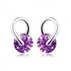 EQute ESIW95S2 S925 Sterling Silver w/ Purple Zircon Ear Stud