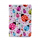 Lofter Ladybird Family Illustration Protective Case for IPAD AIR - White + Red + Green + Purple