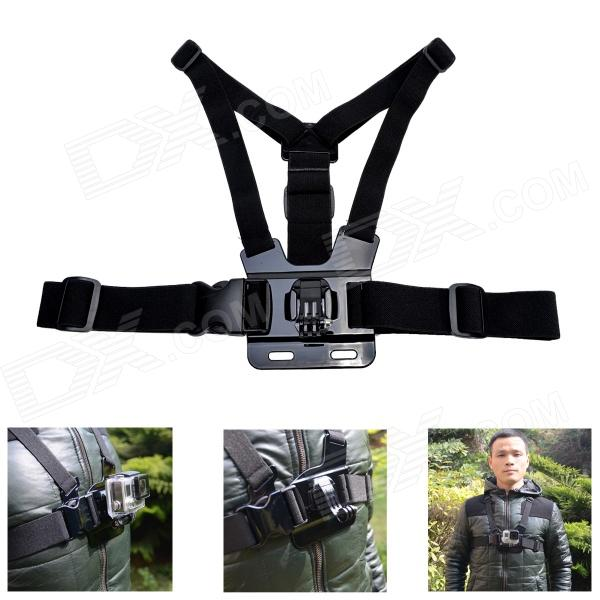 Fat Cat High Comfortable Elastic Adjustable Chest Mount w/ J Hook for Gopro Hero 4/3+/3/2/1/SJ4000 cmi ergonomic elastic 3 degree of freedom head mount strap for gopro hero 4 3 3 2 1