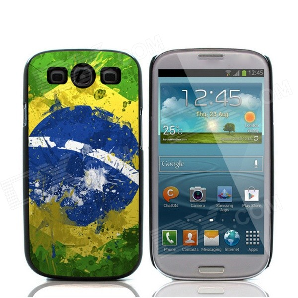 2014 World Cup Brazilian Flag Pattern Aluminum Alloy Case w/ Card Slot for Samsung Galaxy S3