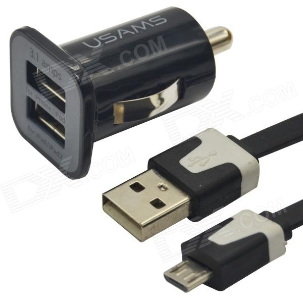 USAMS Dual-USB Car Cigarette Power Charger + Micro USB Cable for Nokia / Samsung / HTC / Motorola