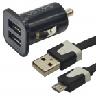 USAMS Dual-USB Car Cigarette Power Charger + Micro USB Cable - Black
