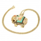 Fashion Elephant Style Aluminum Alloy Pendant Necklace - Golden + Green + Multicolored