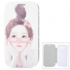 ENKAY Girl Pattern Protective PU Leather + Plastic Case for Samsung i9082 - White + Pink