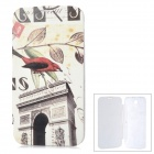 ENKAY Bird Pattern Protective PU Leather + Plastic Case for Samsung i9200 - White + Red