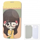ENKAY Cute Girl Pattern Protective PU Leather + Plastic Case for Samsung i9150 - Black + Yellow