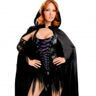 LC887316 New Style Vixen Vamp Party Dress with Cape and Sleeves - Black + Purple  (Free Size)