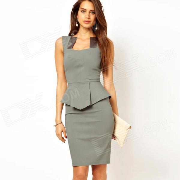 LC862156 Elegant Noble Modern Women Peplum Dress with Satin Inserts Neck - Grey (Size-L)
