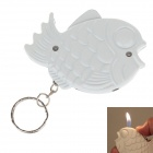 Creative Fish Style High Quality Windproof Butane Lighter w / Key Ring - White