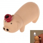 Creative Cute Pig Style Zinc Alloy Windproof Dual Flame Butane Lighter - Apricot