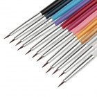 12pcs Professional Nail Art Belas Cabeça Brushes - Multicolor