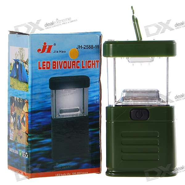11-LED White Light Camping and Garden Lantern - Green (3*AA)