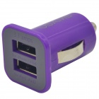 Dual-USB Car Cigarette Lighter Plug Power Adapter - Blue