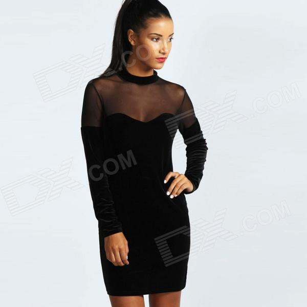 LC829986 Velvet Sweetheart Neck Bodycon Dress for Women - Black (Free Size) crew neck velvet bodycon dress