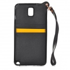 Protective Silicone + PU Leather Back Case w/ Strap for Samsung Note 3 - Black + Yellow
