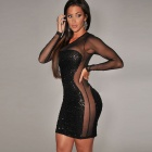 LC829996 All-Over Sequined Sheer Long Sleeves Bodycon Club Dress for Women - Black (Free Size)
