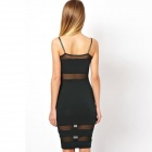 LC862266 Sweet And Sexy Style Women Midi Dress with Mesh Insert - Black (Free Size)