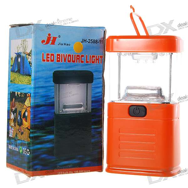 11-LED White Light Camping and Garden Lantern - Orange (3*AA)
