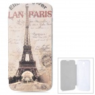 ENKAY Eiffel Tower Pattern Protective PU Leather + Plastic Case for Samsung i9200 - Beige + Brown
